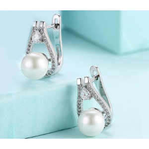 14K White Gold Plating Swarovski Elements Pav'e Freshwater Pearl Pear Cut Earrings