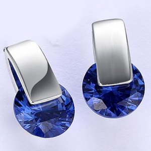 14K White Gold Plating Sleek Blue Swarovski Elements Earrings