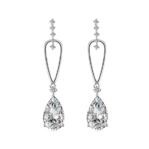 14K White Gold Plating Dangling White Swarovski Pear Cut Earrings
