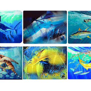 ($6 EACH!) 2 or 5 Pack: Tempered Glass Cutting Boards by Guy Harvey - Ships Quick!