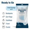 5-Pack: WeCare Disposable 3 Ply Face Masks - Soft on Skin - Effective Filtration