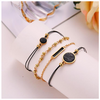 Black Lapis Marble Geometric 4 Piece Bracelet Set