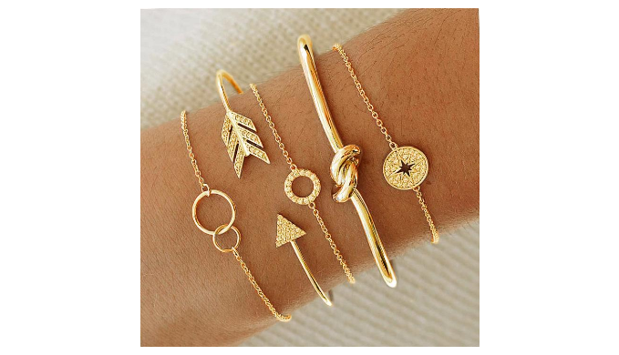 5 Piece Pav'e Loveknot Bracelet Gold Set