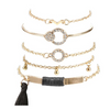 Black Tassel Pav'e 5 Piece Bracelet Set