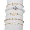 Arcoris White Marble Filigree Pendant & Love 5 Piece Bracelet Set