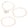 Chunky Sea Shell Pendants 3 Piece Bracelet in 14K Gold Plating