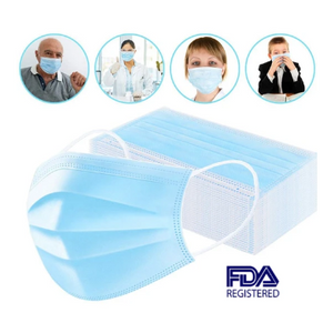 WHOLESALE PRICING! (Under 12¢/Mask) Disposable 3-Ply Protective FDA Face Masks – SHIPS QUICK FROM U.S.!