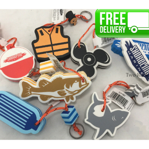 2 or 6 Pack: Floating Foam Keychain - Random Assortment Fishing/Boating Styles - Ships Quick!