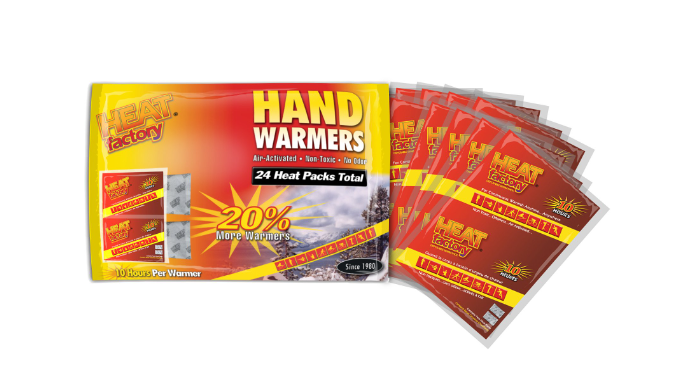 24 Count: Heat Factory Hand Warmers - Warms for 10 Hours - Ships Quick!