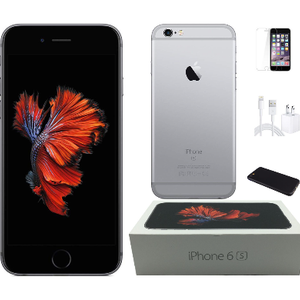 Apple iPhone 6s Unlocked Bundle with Case, Charger, Screen Protector (Refurbished) - Ships Quick!