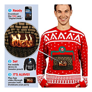 Digital Dudz Fireplace Ugly Christmas Sweater - Add Your Phone as a Fireplace - FREE RETURNS!