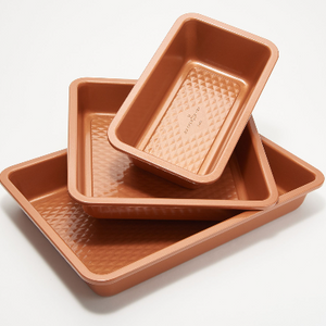 Copper Chef 3D Diamond Bakeware Set with Non-Stick Coating (Renewed) - Ships Quick!