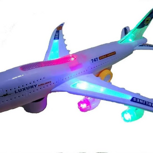 CLEARANCE: Luxury Airplane Light-Up Toy w/ Auto-Drive, Flashing Lights & Sounds (Batteries not Included) - Ships Quick!