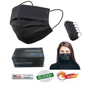 BLACK Premium Quality Comfort 3-Layer Face Masks + Face Shields - Ships from US Warehouse!