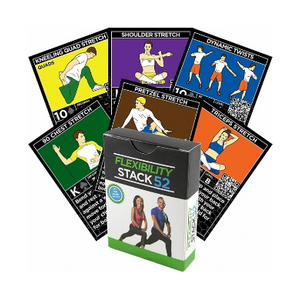 Stack 52 Flexibility Exercise Cards, Static & Dynamic Stretches Warmup/Cooldown - Ships Quick!