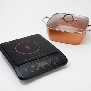 "5-Piece Copper Chef 1300W Induction Cooktop with 11"" Casserole Set (Certified Refurbished) - Ships Quick!"
