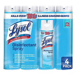 4-Pack: Lysol Disinfectant Spray Crisp Linen - Ships Quick!