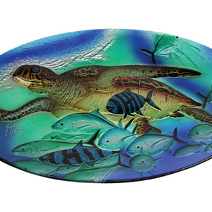 Sea Turtle Glass Tray Display 20in x 14in by Guy Harvey - Ships Quick!
