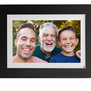 "Brookstone PhotoShare 8"" or ""10"" Smart Digital Photo Frame, Send Pics from Phone to Frames, Wi-Fi, Holds Over 5,000 Pics, HD Touch Screen, Premium Black Wood (New Open Box) - Ships Quick!"