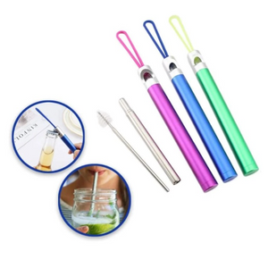 Pack of 3: Stainless Steel Collapsible Reusable Straws with Bottle Opener - Ships Quick!