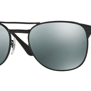 Ray-Ban Signet Black Silver Mirror Sunglasses (RB3429M 002/58 55mm)
