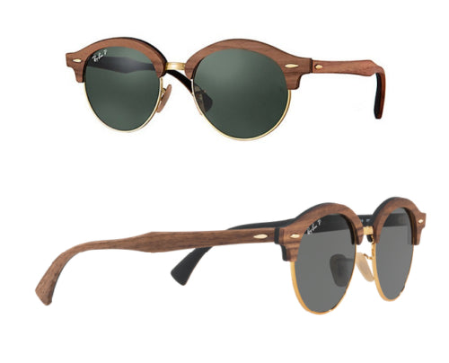 4c27e86255 Ray-Ban Polarized CLUBMASTER Wood Classic G-15 Sunglasses (RB4246M 118158)
