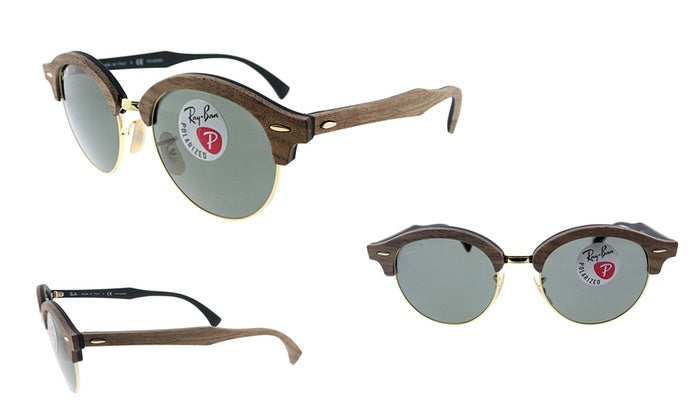 Ray-Ban Polarized CLUBMASTER Wood Classic G-15 Sunglasses (RB4246M 118158)