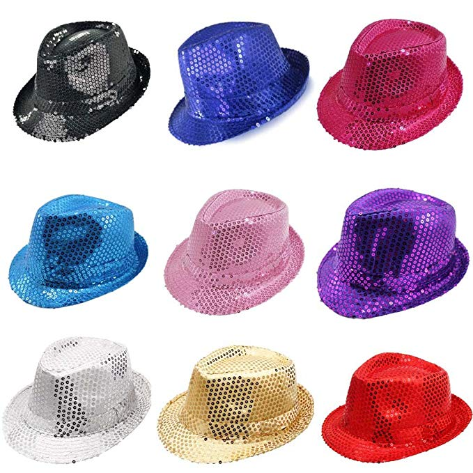 Pack of 10  New Year s Party Hats - Sequin Fedora 6b5a1fa7377