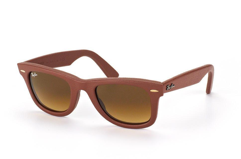 Ray-Ban Wayfarer Leather Brown Sunglasses (RB2140QM 1169/85 50mm)