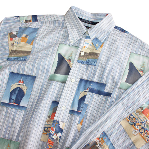 Nautica Ship Print Vintage Shirt - Thriftfinds, NZ Vintage clothing store