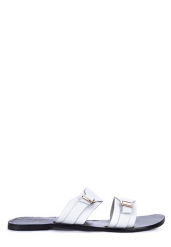 DOUBLE STRAP SLIDES WITH BUCKLES - WHITE