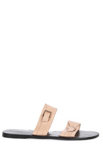DOUBLE STRAP SLIDES WITH BUCKLES - BEIGE