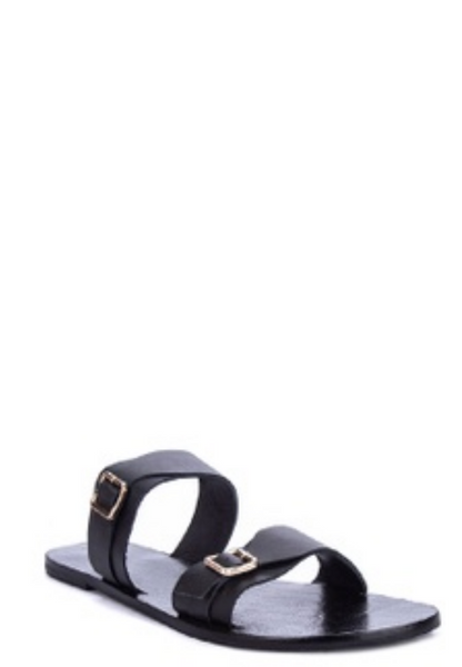 DOUBLE STRAP SLIDES WITH BUCKLES - BLACK