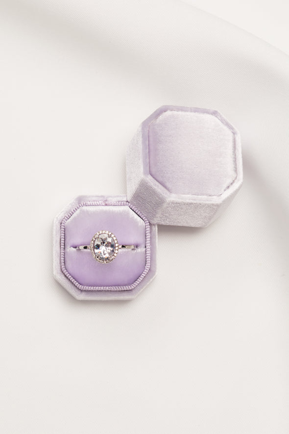 Lavender Velvet Ring Box