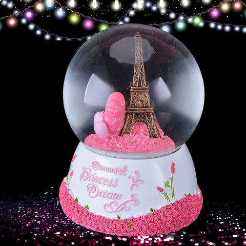 Palla di vetro con neve - Paris Eiffel Tower - Torre - Tour con Music Box and LOVE Decoration
