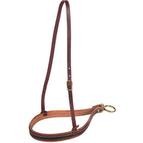 NRS Tack 1-1/8in Double Leather Noseband With Latigo Hanger