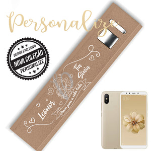 "Power bank aluminio dourada brilhante"" Personalize"