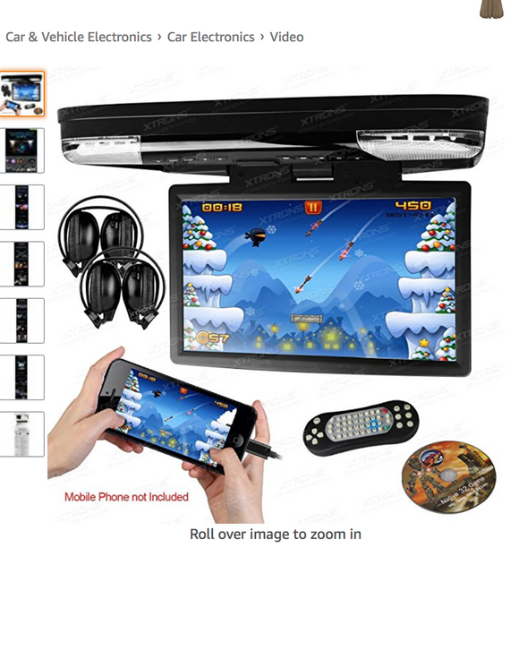 Xtrons 15.6 Inch HDMI Drop Down DVD Sky On The Move