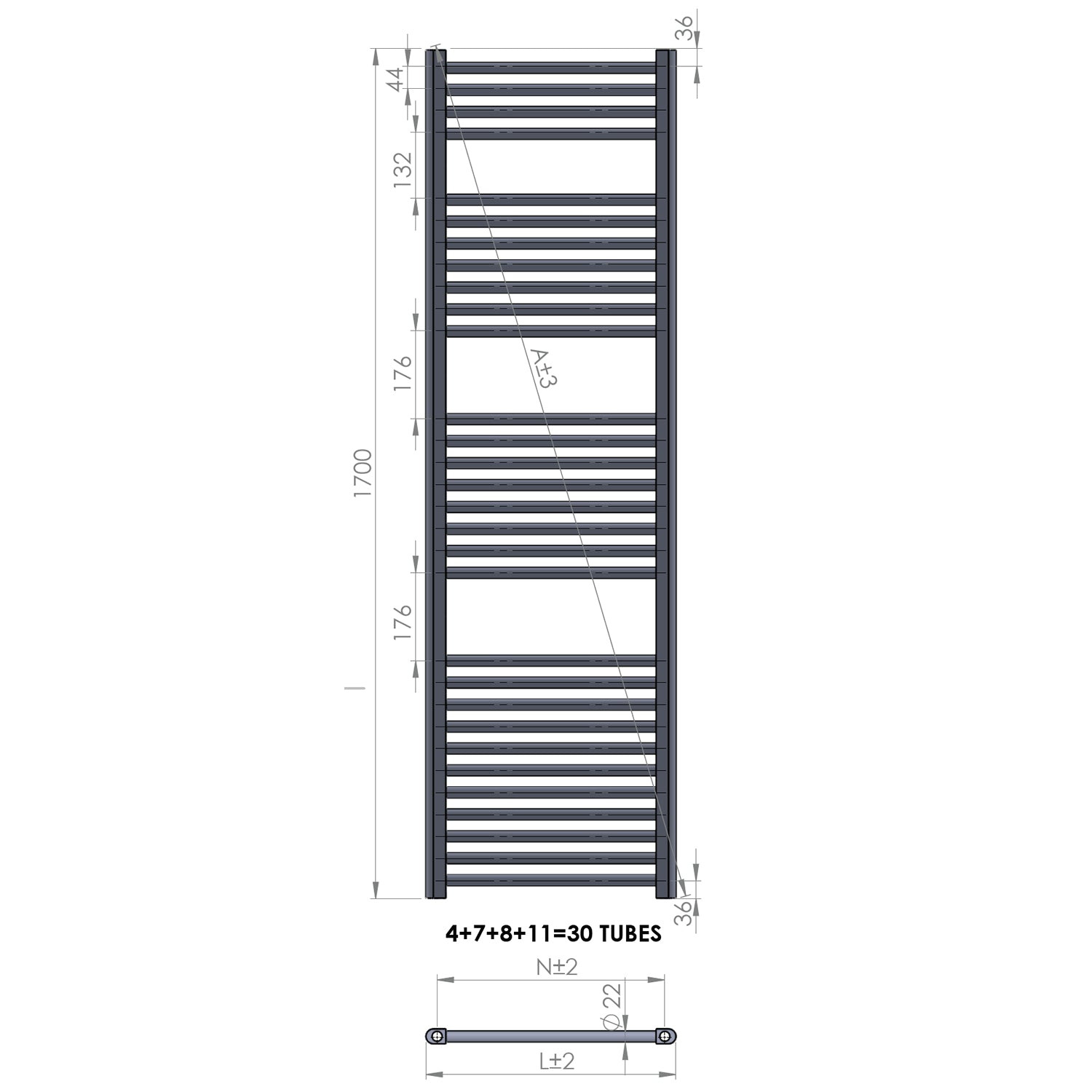 550mm Wide 1700mm High Straight Chrome Heated Towel Rail Radiator HTR Central Heating