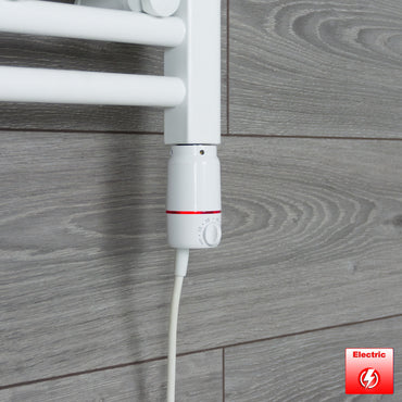 500mm Wide 1100mm High Flat or Curved WHITE Pre-Filled Electric Heated Towel Rail Radiator HTR