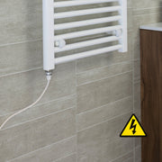 350mm Wide 400mm High Flat WHITE Pre-Filled Electric Heated Towel Rail Radiator HTR,Single Heat Element