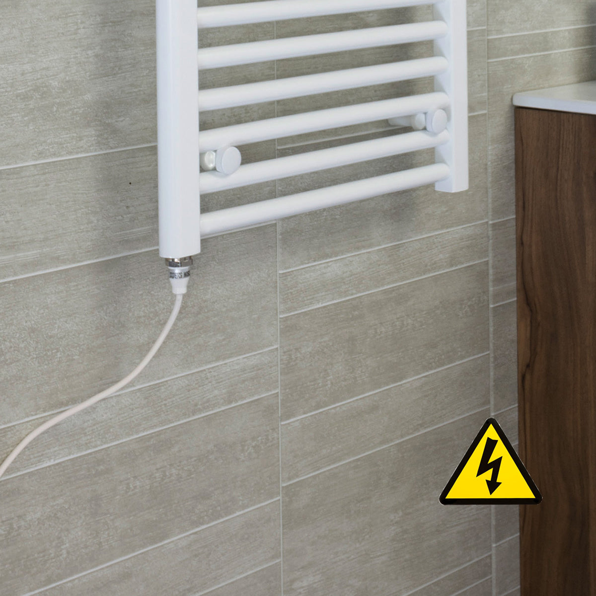 200mm Wide 600mm High Flat WHITE Pre-Filled Electric Heated Towel Rail Radiator HTR,Single Heat Element