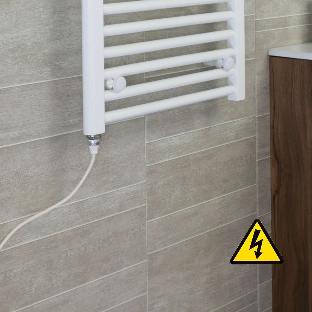500mm Wide 600mm High Curved White Heated Towel Rail Radiator Gas or Electric,Pre-Filled Single Heat Element