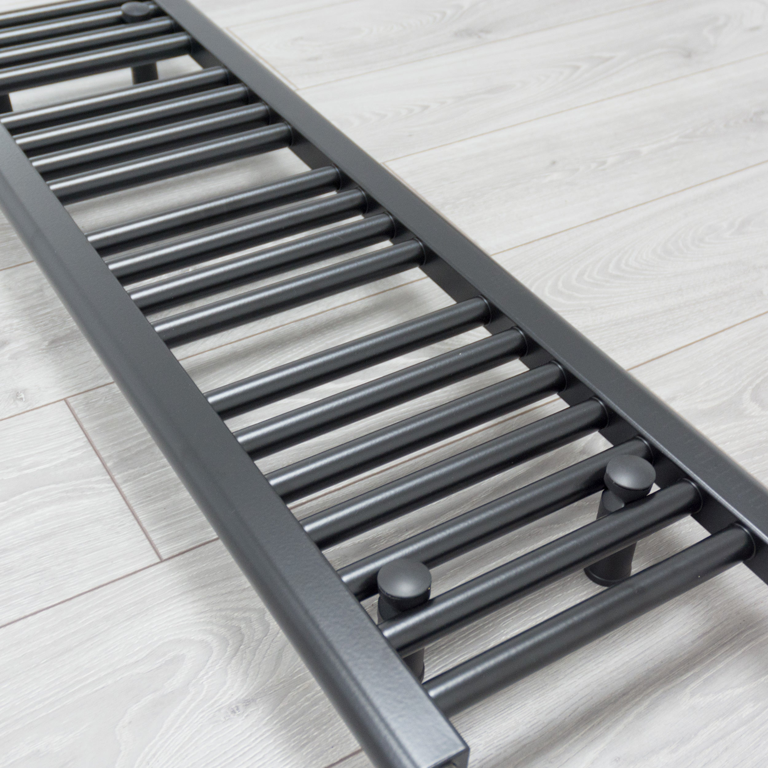 300mm Wide 1600mm High Flat Black Heated Towel Rail Radiator