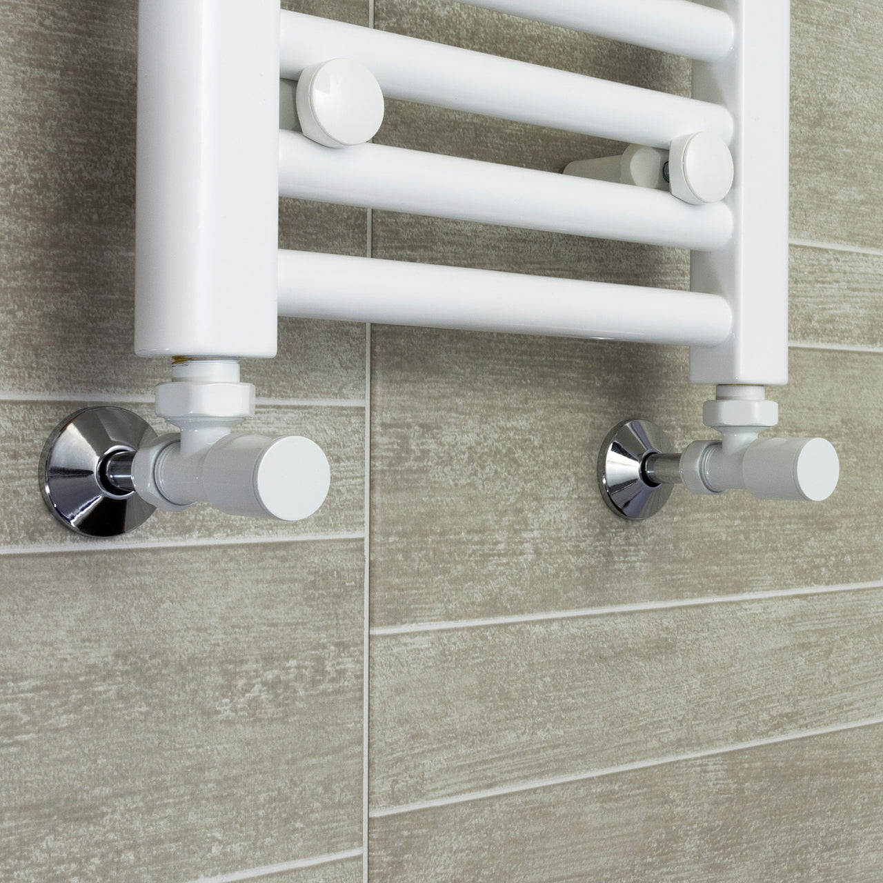 750mm Wide 1300mm High Flat White Heated Towel Rail Radiator HTR,With Angled Valve