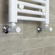 700mm Wide 1300mm High Flat White Heated Towel Rail Radiator HTR,With Angled Valve
