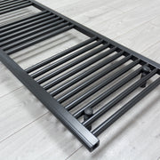 600mm Wide 1200mm High Flat Black Heated Towel Rail Radiator