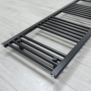 600mm Wide 600mm High Flat Black Pre-Filled Electric Heated Towel Rail Radiator HTR