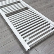 500mm Wide 1200mm High Flat White Heated Towel Rail Radiator Gas or Electric