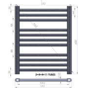 550mm Wide 600mm High Straight Chrome Heated Towel Rail Radiator HTR Central Heating